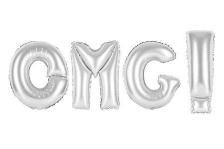 chrome (grey) alphabet balloons, acronym and abbreviation, omg, chrome (grey) number and letter balloon Stock Photo