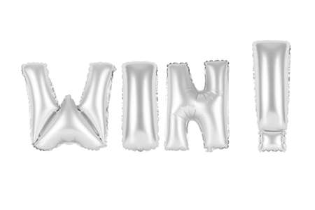 chrome (grey) alphabet balloons, win, chrome (grey) number and letter balloon Stock Photo