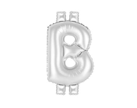 chrome (grey) alphabet balloons, bitcoin sign, chrome (grey) number and letter balloon Stock Photo