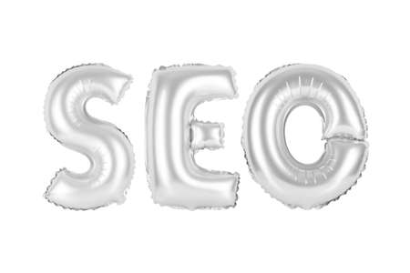 chrome (grey) alphabet balloons, SEO, search engine optimization, chrome (grey) number and letter balloon Stock Photo