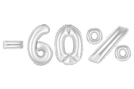chrome (grey) alphabet balloons, 60 percent, sixty percent off, chrome (grey) number and letter balloon Stock Photo