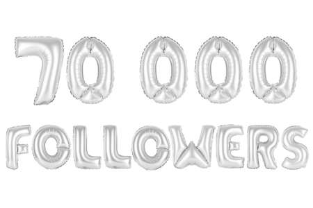 chrome (grey) alphabet balloons, 70K (seventy thousand) followers, chrome (grey) number and letter balloon