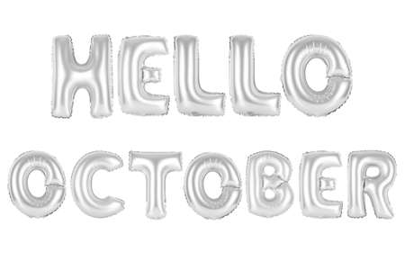 chrome (grey) alphabet balloons, hello october, chrome (grey) number and letter balloon