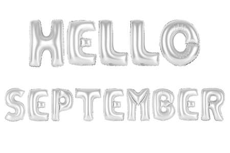 chrome (grey) alphabet balloons, hello september, chrome (grey) number and letter balloon