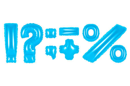 blue alphabet balloons, punctuation marks, blue number and letter balloon