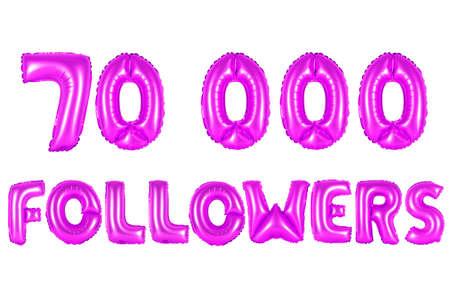 purple alphabet balloons, 70K (seventy thousand) followers, purple number and letter balloon