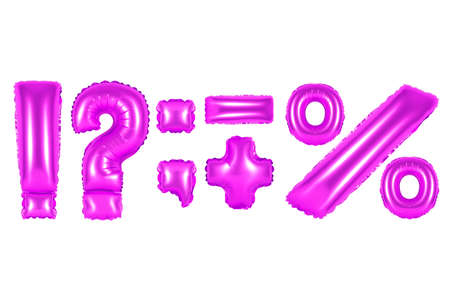 purple alphabet balloons, punctuation marks, purple number and letter balloon