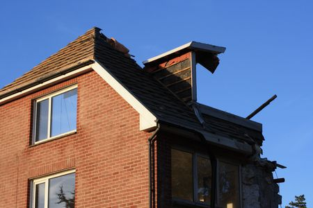 A house badly storm damaged in England