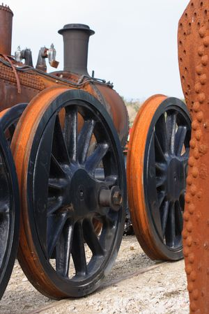 Modern and old - rusting metal steam train parts Stock Photo - 2046163