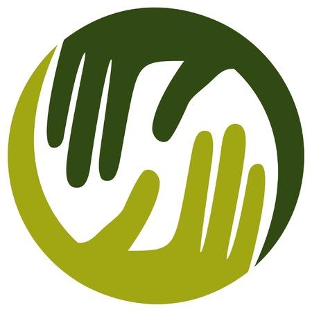 caring hands: Natuurlijke zorgzame handen design in een ronde vorm. Stock Illustratie