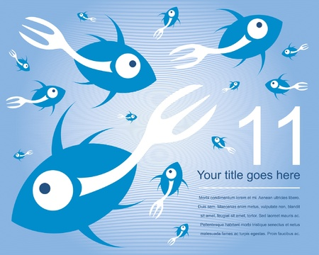 Fork tailed fish design with text space.  Vector