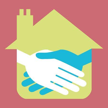 Property or real estate handshake design. Stock Vector - 9683481