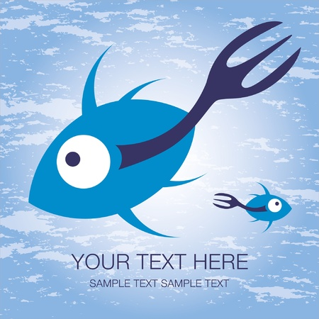 Fork tailed fish design with text space. Stock Vector - 9683487