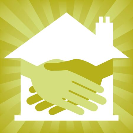 Green property or real estate handshake design.  Vector