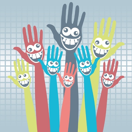Crazy face hands design.  Vector