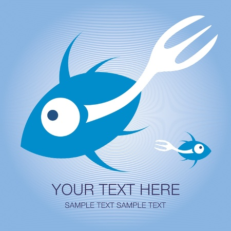 Fork tailed fish design with text space. Stock Vector - 9718847