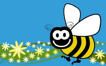 pollinating: Bee and flowers vector.