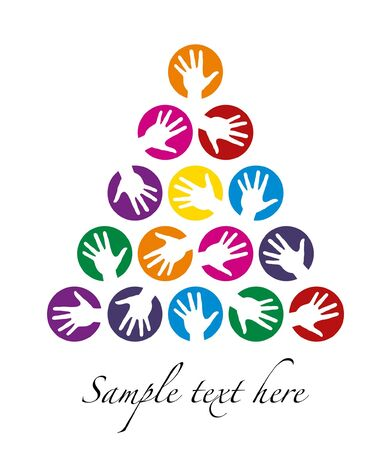 Hand tree celebration design with space for your text.