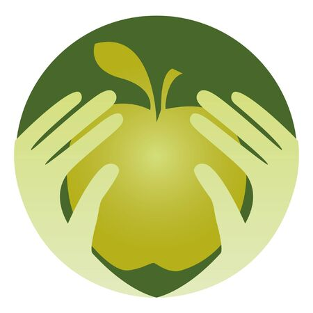 Healthy eating design with hands holding an apple.  Vector