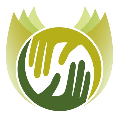 Caring nature hands.  Vector