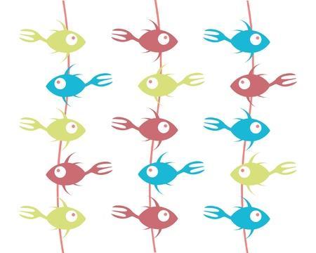 Hanging fork tailed fish menu or restaurant design. Stock Vector - 9718860