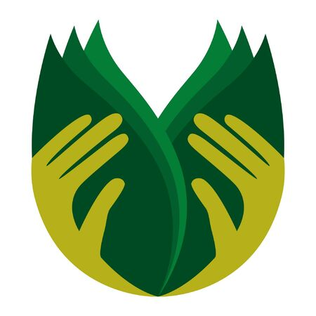 Caring hands holding leaves.  Vector