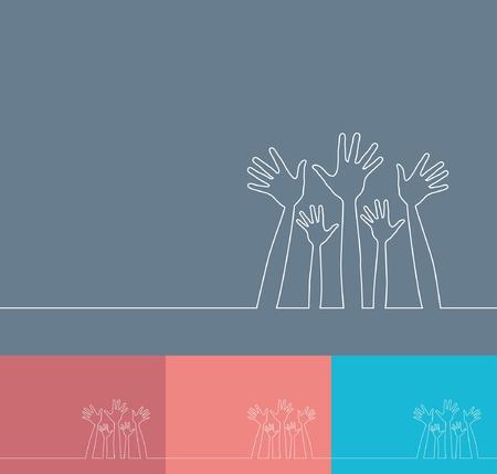 voter: Illustration de la ligne simple du vecteur de mains.