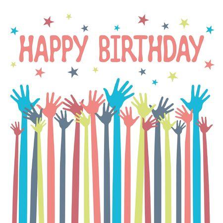 Feliz cumpleaños manos diseño.