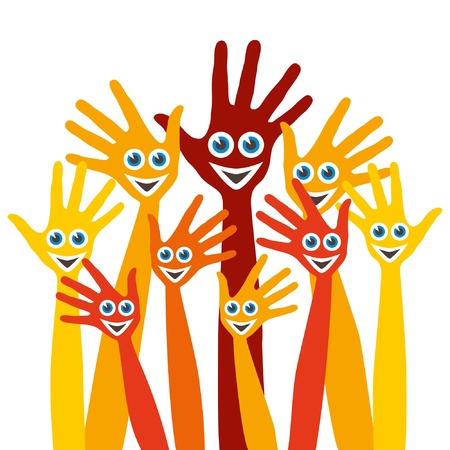 Hands with happy faces design.  Vector