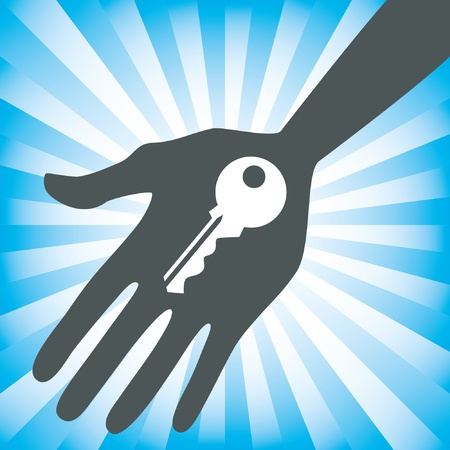 hand and key: Hand holding a house key design.