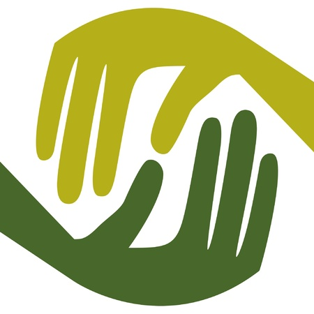 caring hands: Natuurlijke Zorg handen ontwerp. Stock Illustratie