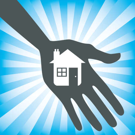 Hand holding a house icon design.  Vector