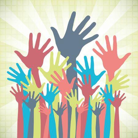 volunteer: Large group of happy hands design.  Illustration