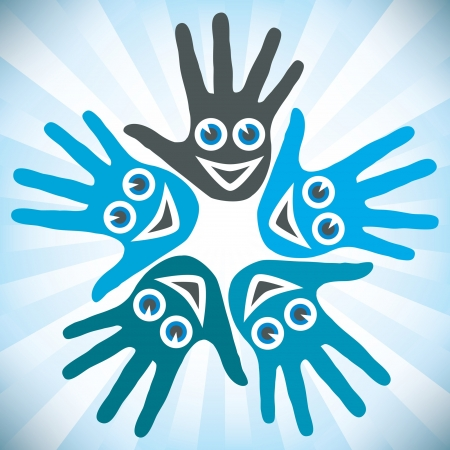 Circle of hands with happy faces.  Vector