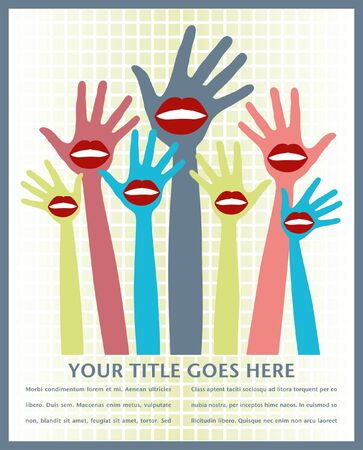 Lip hands party design with space for text.  Vector
