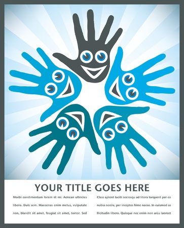 Circle of hands with happy faces with copy space.  Vector