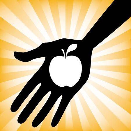 Hand holding an apple design. Stock Vector - 9720221