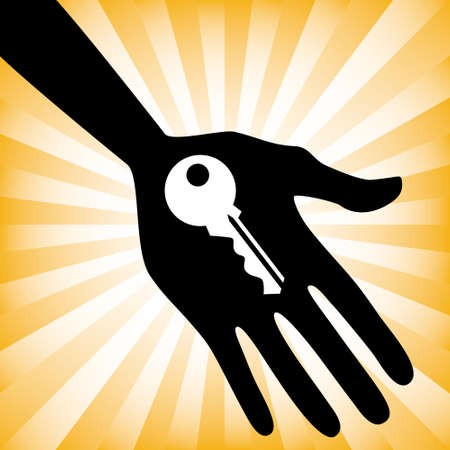 Hand holding a house key design. Stock Vector - 9720222