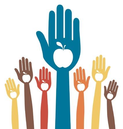 Gezonde appel handen design. Stock Illustratie