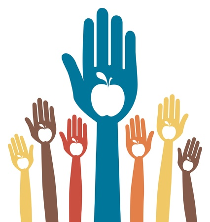 Healthy apple hands design.  Stock Vector - 9812032
