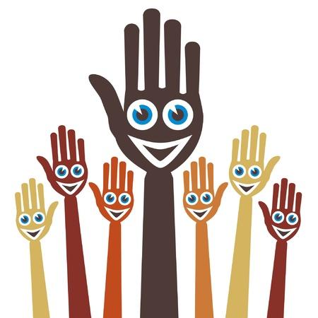 verkiezingen: Handen met blije gezichten. Stock Illustratie