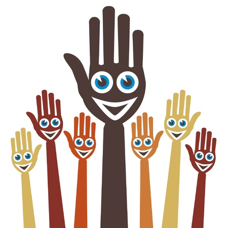 Hands with happy faces. Stock Vector - 9812038