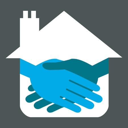 Property or real estate handshake design. Stock Vector - 9812035