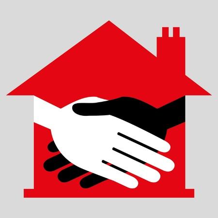 Property or real estate handshake design. Stock Vector - 9812036