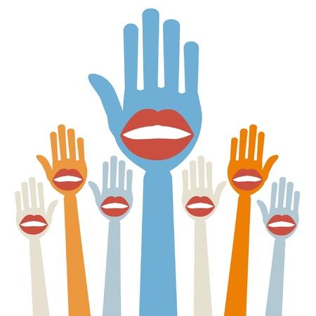 Lip hands party design.  Vector