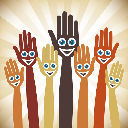 Hands with happy faces.  Vector