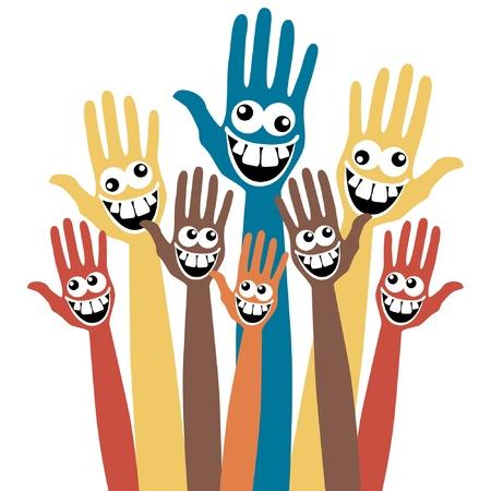 Gek gezicht handen.  Vector Illustratie