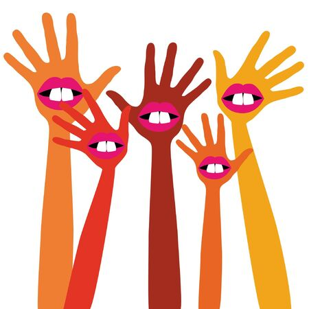 Funny mouth and teeth hands design.  Vector