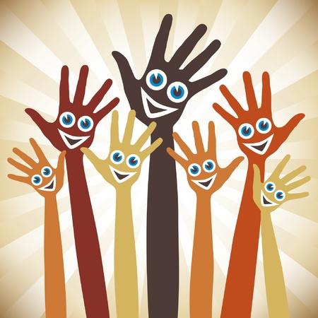 Hands with happy faces. Stock Vector - 10043882