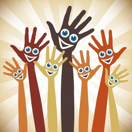 Mains avec des visages heureuses. Banque d'images - 10043882